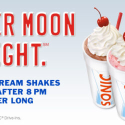 Sonic: Real Ice Cream Shakes 1/2 Price After 8 PM