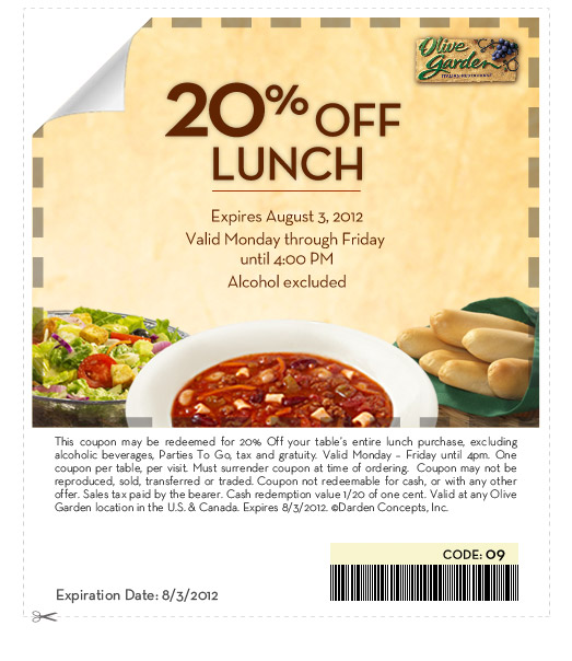 If you love food then you will love the Olive Garden. Follow this offer and you can get great savings on your next trip to the Italian restaurant. Now they are offering Save $20 on your next catering purchase of $ or more with this Olive Garden coupon code. Restrictions and /5(18).