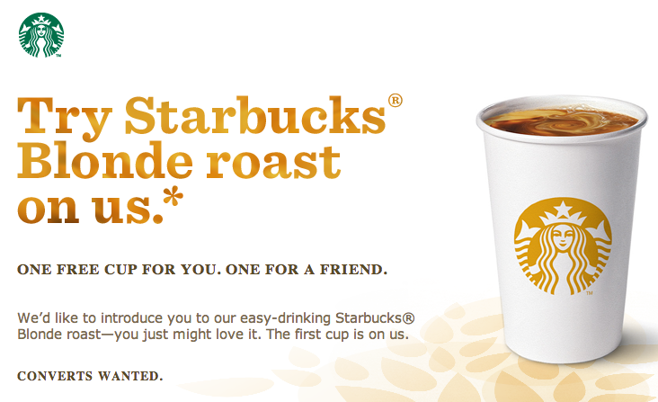 starbucks free tall blonde roast coffee 1 off coupon the