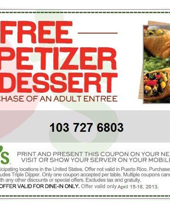chili's appetizer dessert coupon