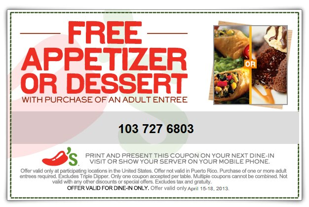 Chilis Free Appetizer Coupon