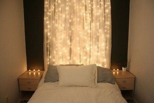 make a headboard out of christmas lights