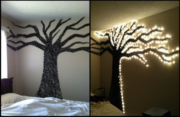 Diy home decor ideas using christmas lights the pennywisemama wall tree made out of christmas lights aloadofball