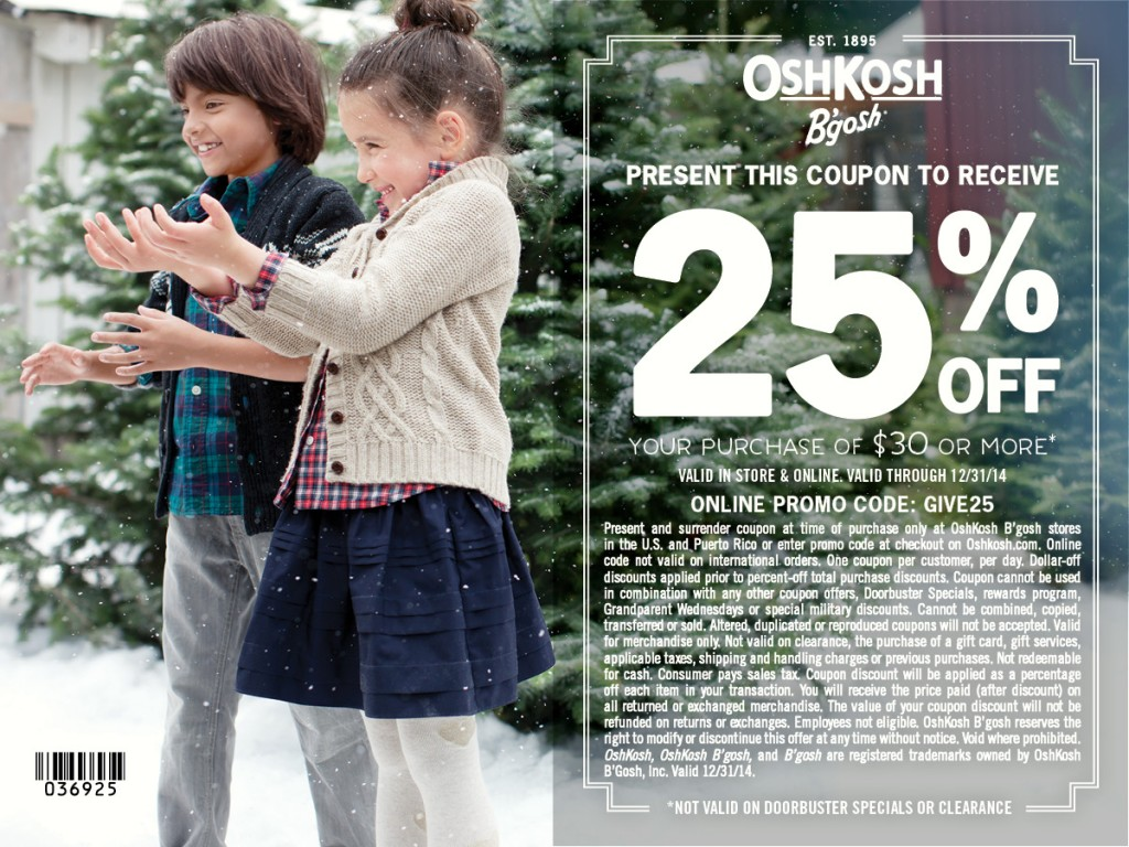 oshkosh b'gosh 25% off coupon #givehappy - the pennywisemama