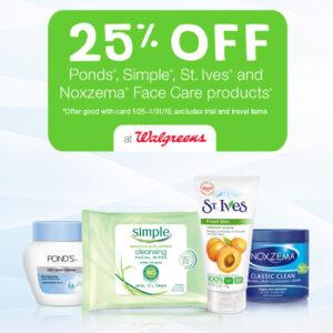 Skin Care Deals at Walgreens: Save 25% + Get $1 off Coupon