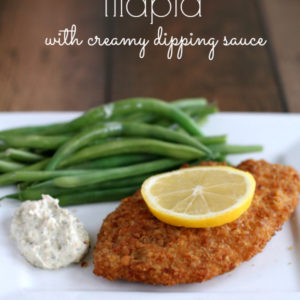 Pretzel Crusted Tilapia with Creamy Dipping Sauce