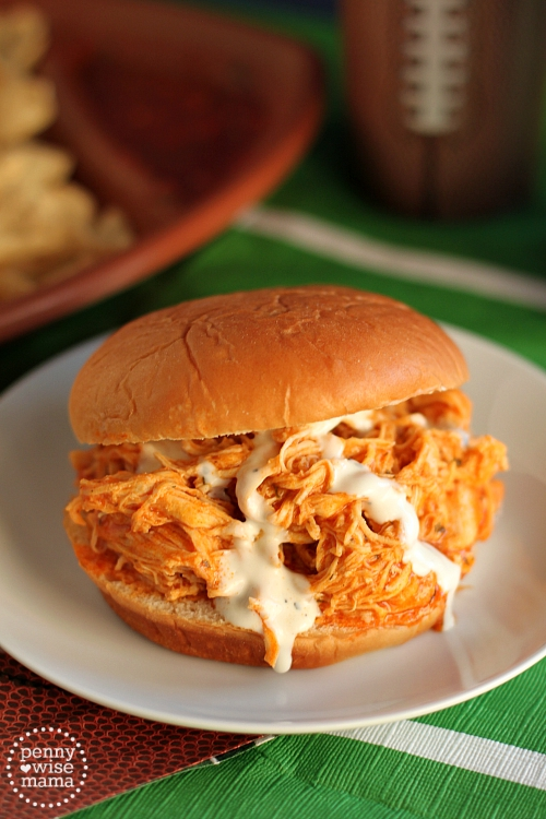 Slow Cooker Buffalo Chicken Sandwiches - The PennyWiseMama