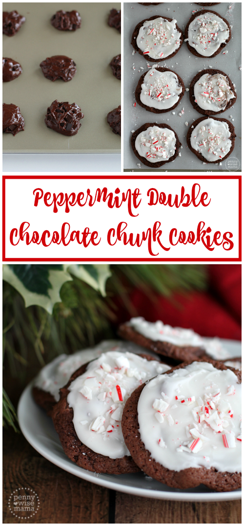 Peppermint Double Chocolate Chunk Cookies with Peppermint Glaze