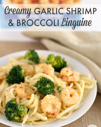 Creamy Garlic Shrimp & Broccoli Linguine