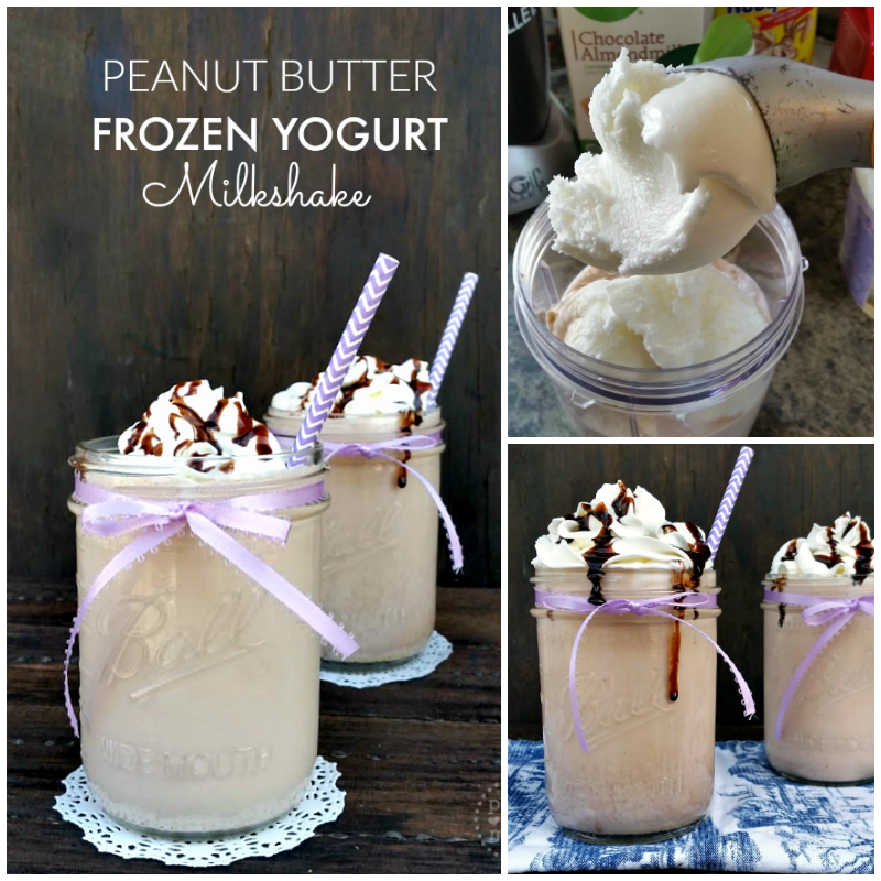 Peanut Butter Frozen Yogurt Milkshake - tastes just like a Snickers bar, but without all the extra calories!