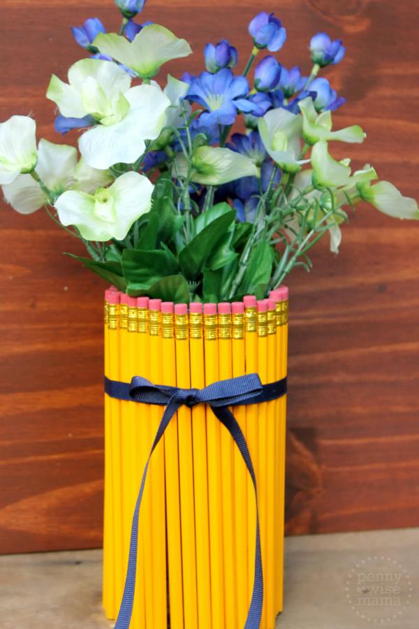 DIY Teacher Appreciation Gift: Cute No. 2 Pencil Vase with Flowers