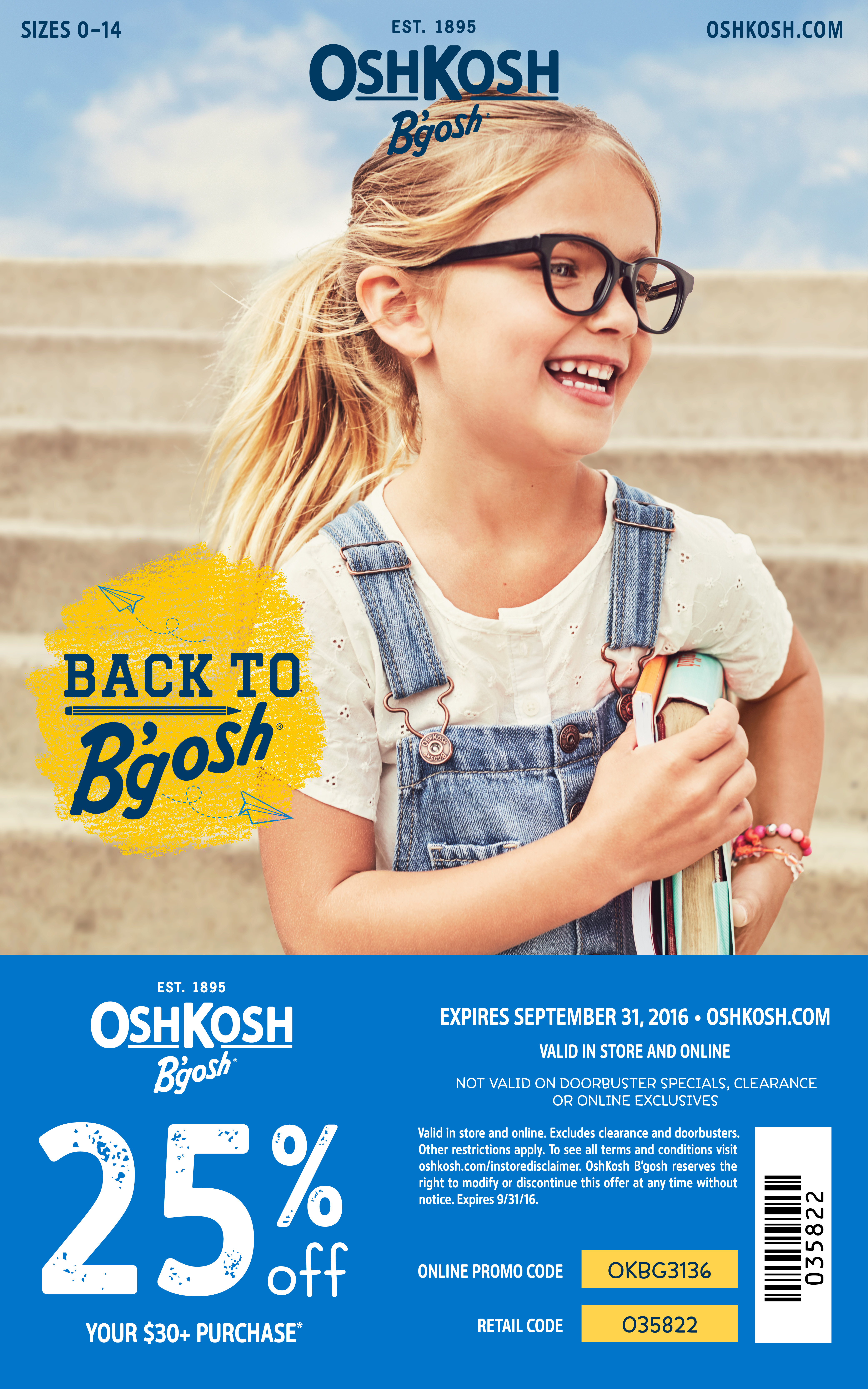 2016 OshKosh B'gosh Back to School Coupon