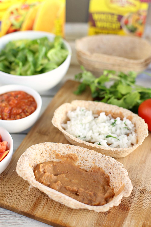 Chicken Burrito Bowls with edible tortilla boats