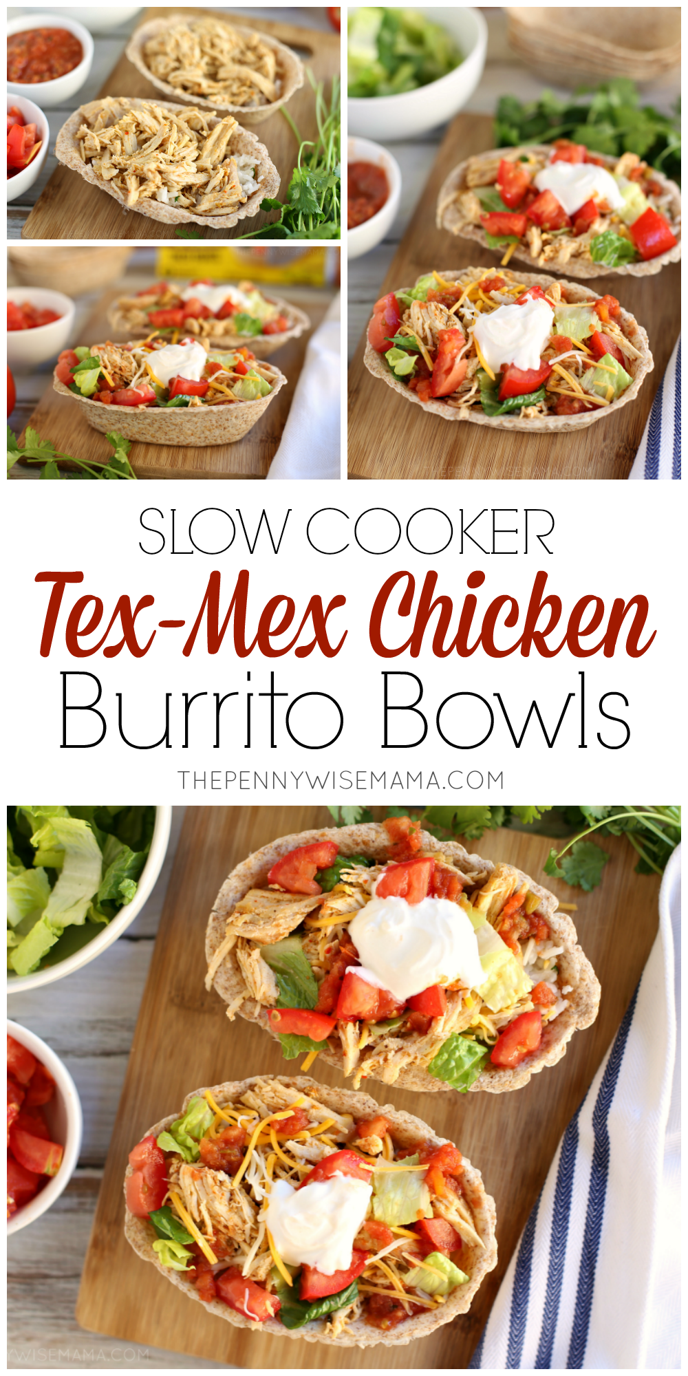 Slow Cooker Tex-Mex Chicken Burrito Bowls - The PennyWiseMama