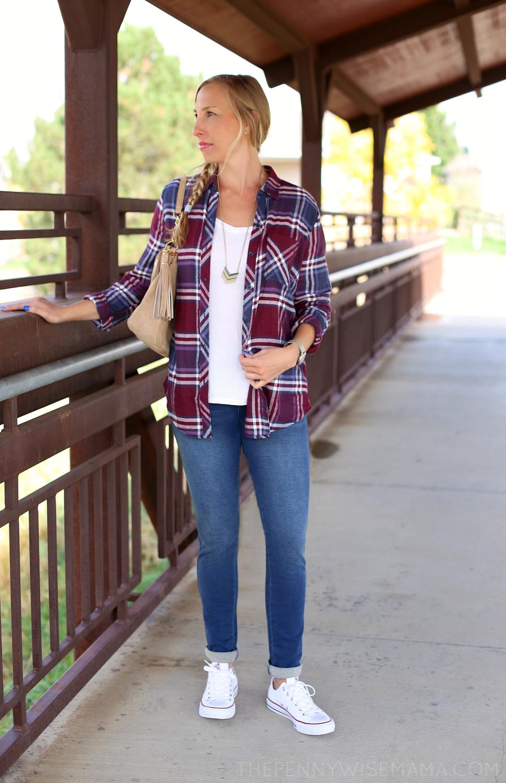 Fall Style Look - flannel shirt, skinny PajamaJeans, suede Michael Kors handbag