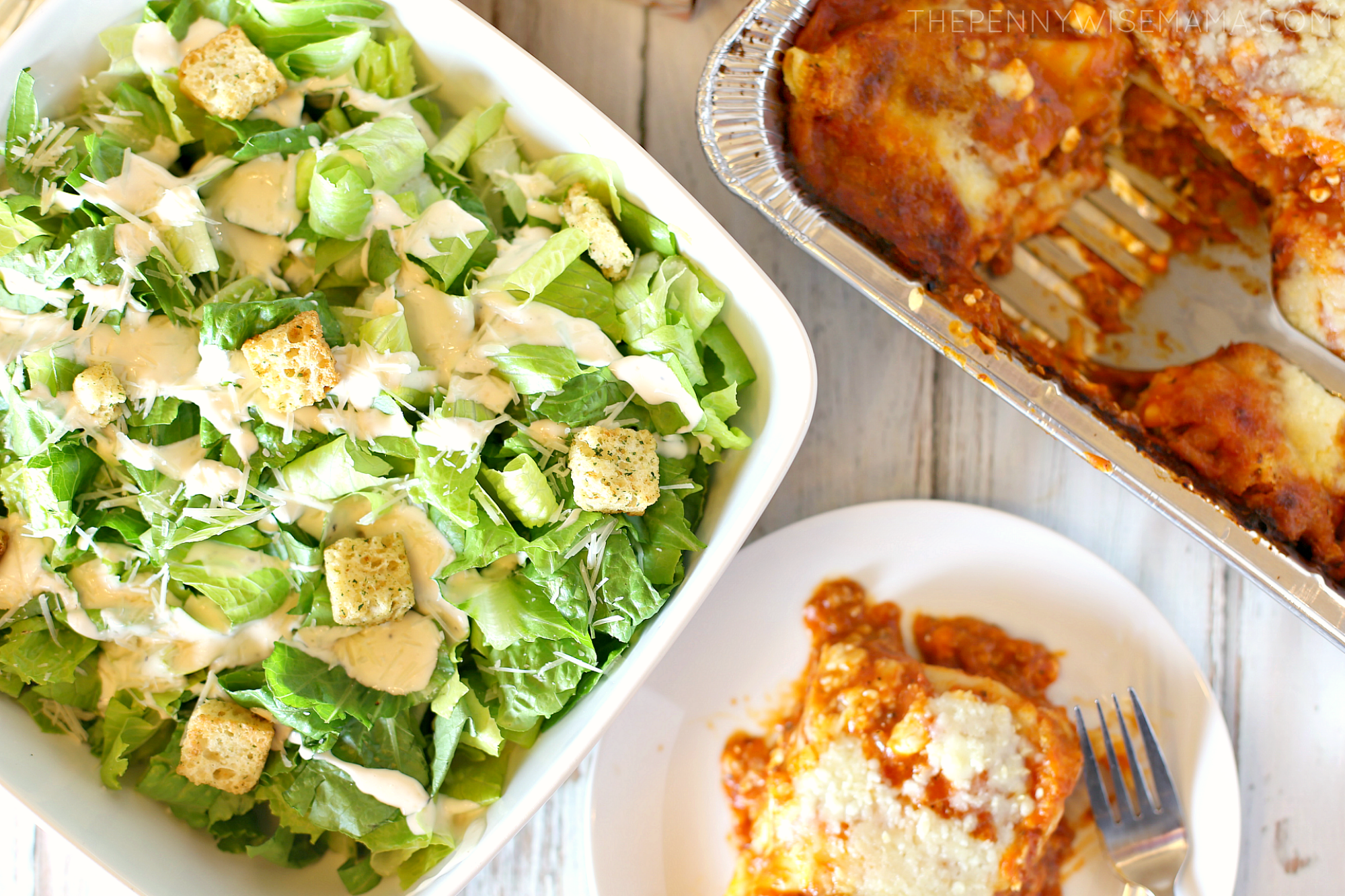 Caesar salad paired with Stouffer's Lasagna with Meat & Sauce