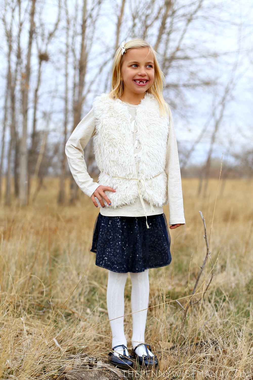 OshKosh B'gosh Faux Fur Vest & Sparkle Skirt