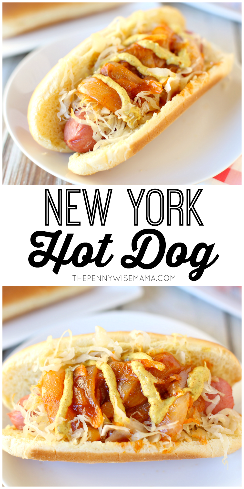 New York Style Hot Dog - this simple & delicious recipe is similar to the pushcart hot dog featuring onion sauce and sauerkraut.