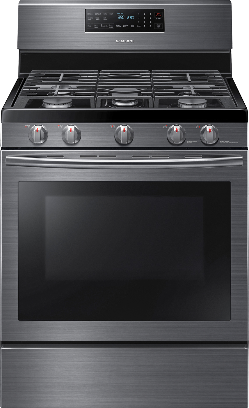 Samsung Self-Cleaning Freestanding Gas Convection Range - Black Stainless Steel.