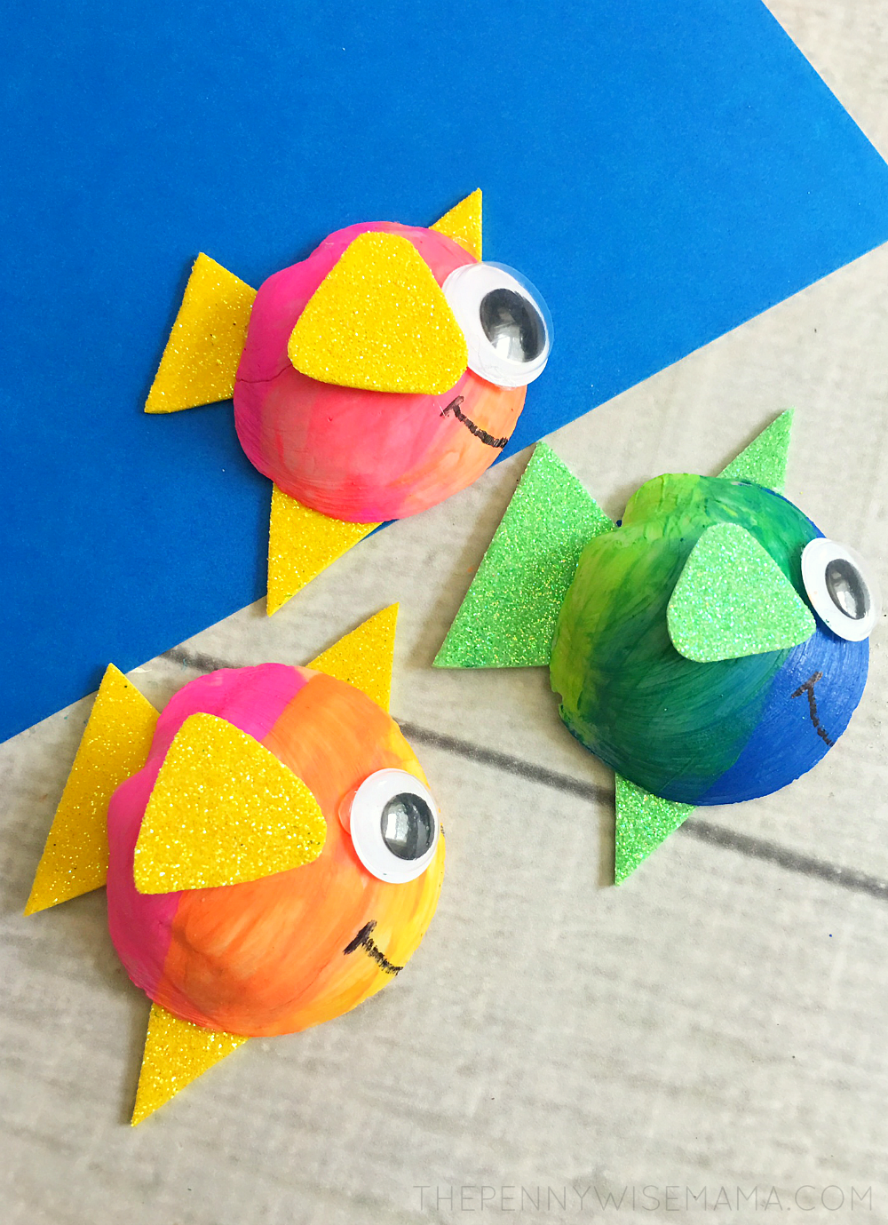 Cute Seashell Fish - simple craft that is great for kids learning about the ocean or sea animals