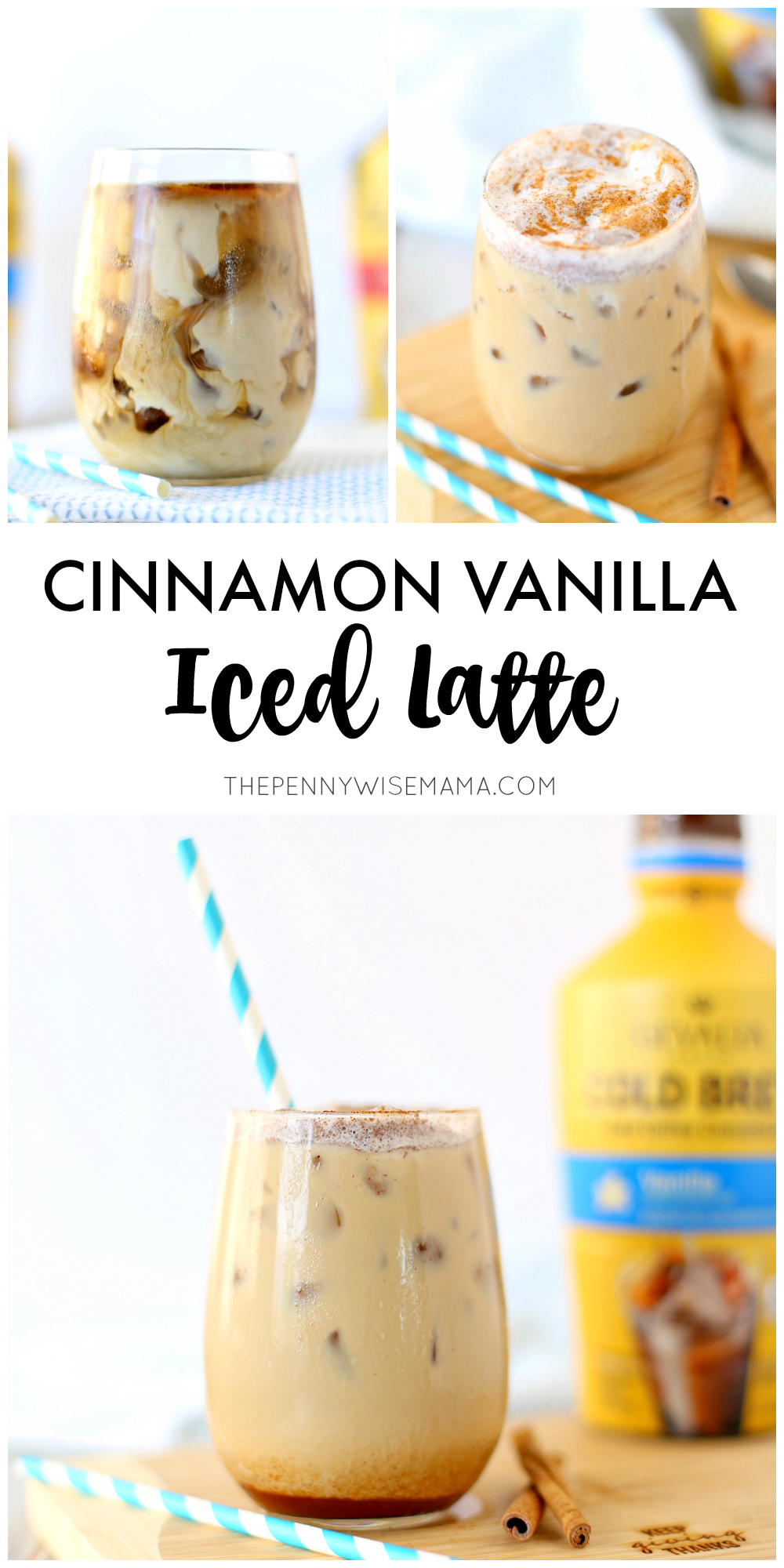 Easy Make-At-Home Cinnamon Vanilla Latte Recipe using cold brew coffee