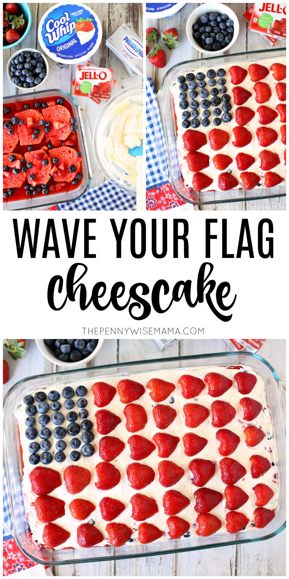 Wave Your Flag Cheesecake - perfect for the Fourth of July or any time you want to serve an all-American dessert that is red, white and cool!