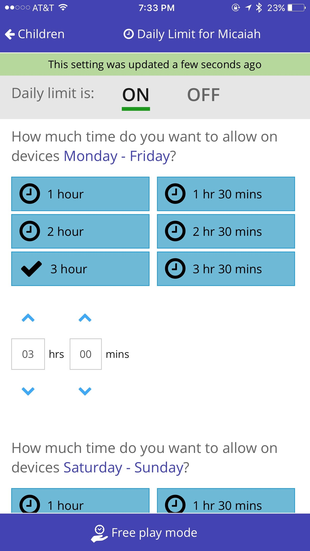 Daily Time Limit on Screen Time App