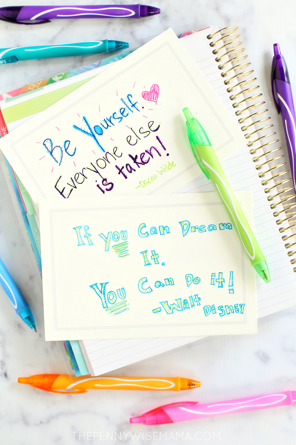 Motivational Back to School Quotes with BIC Gel-ocity Quick Dry Gel Pens