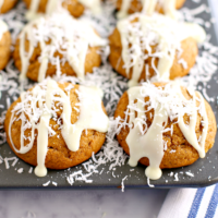 Coconut Pumpkin Muffins with White Chocolate Glaze
