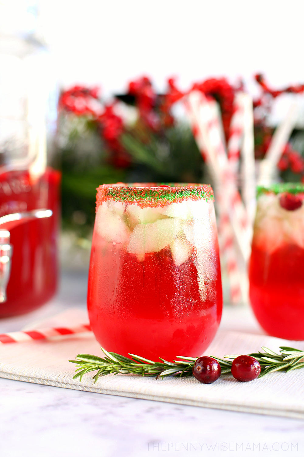 Sparkling Cranberry Lime Holiday Punch - a fun & festive drink. Perfect for the holidays!