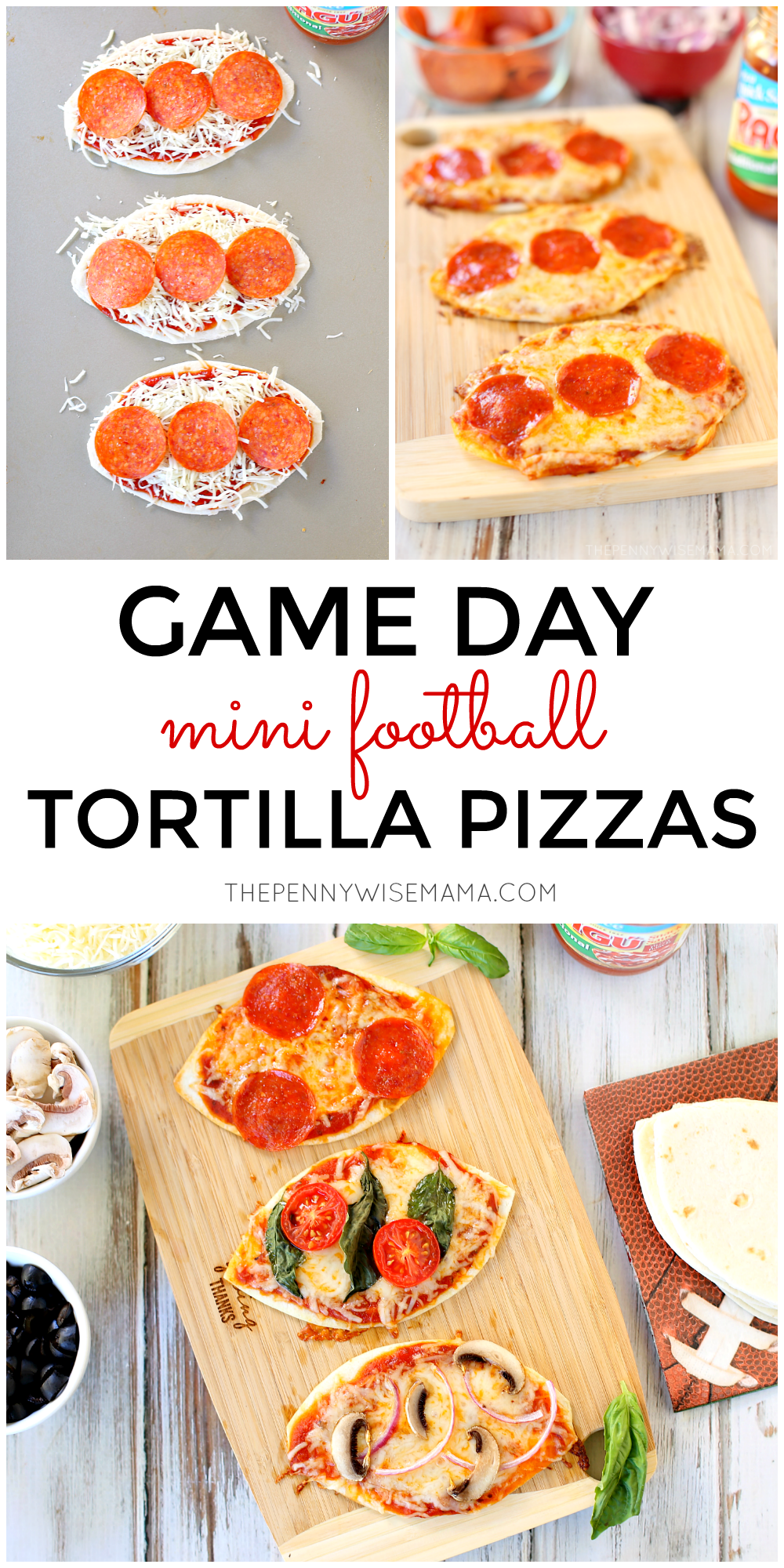 These mini tortilla pizzas shaped like footballs are perfect for Game Day! Click image to get the full recipe.