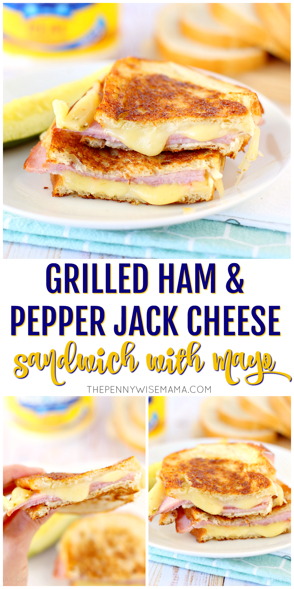 Grilled Ham & Pepper Jack Cheese Sandwich with Mayo - simple & delicious recipe using leftover ham! #ham #grilledcheese #recipes #easyrecipes