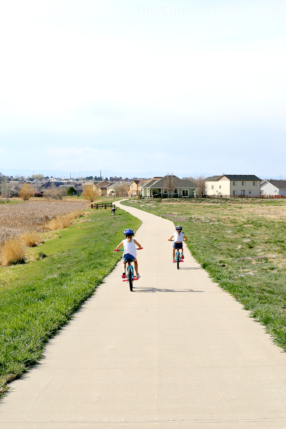 kids enjoying spring with bike ride
