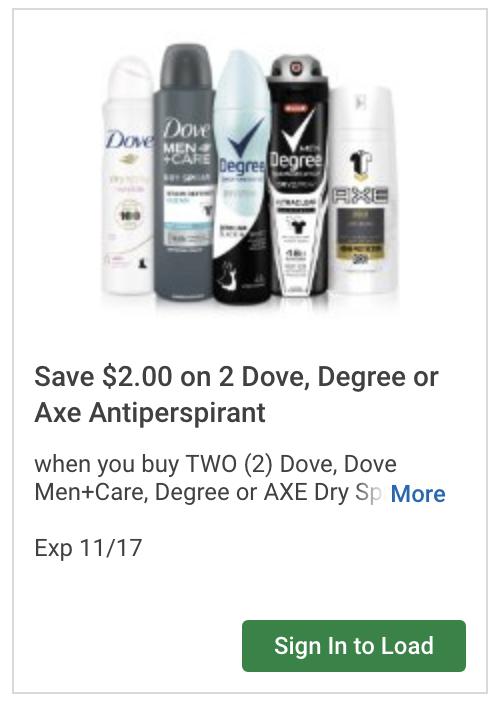 $2 off Dove, Degree, or Axe Coupon