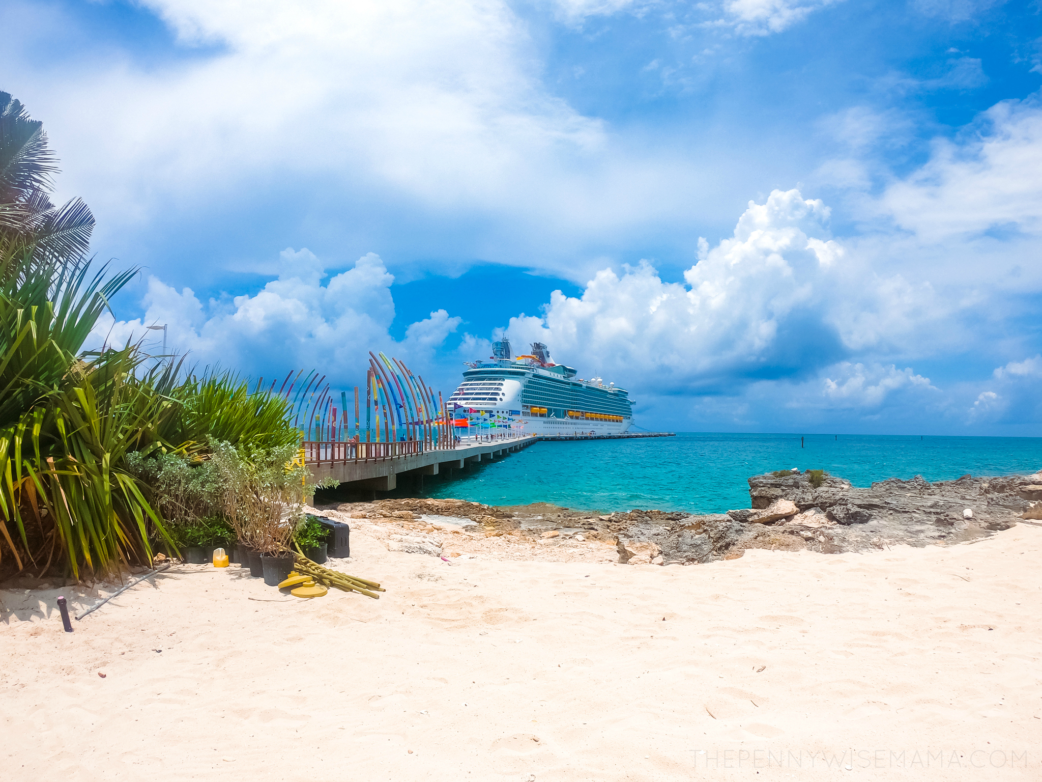 Royal Caribbean's Navigator of the Seas Docked at Perfect Day at CocoCay