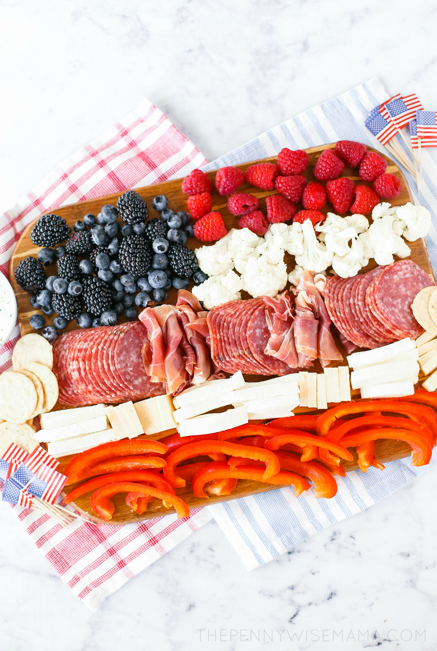 Patriotic Charcuterie Board - An American Flag Meat and Cheese Board
