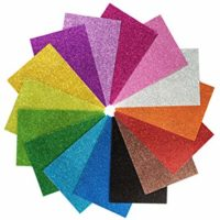 """15 Pack Self Adhesive Glitter Foam Paper Sheets - 8""""x12"""" - 15 Colors - Perfect for Holiday Card Crafts"""
