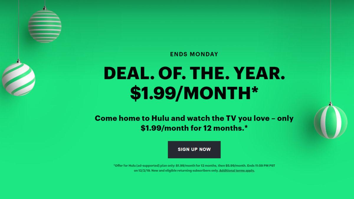 $1.99 Hulu Black Friday Deal